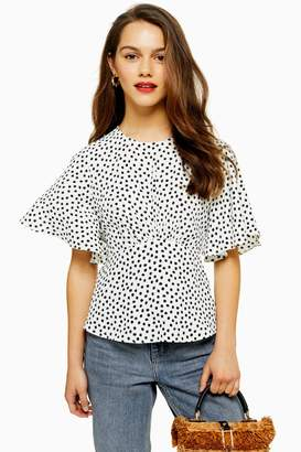 Topshop Womens Petite Austin Star Print Angel Sleeve Blouse - Monochrome