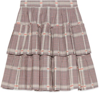 Gucci Logo Plaid Tiered Ruffle Skirt