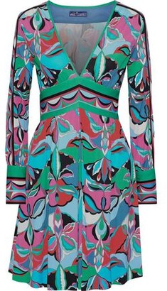 Emilio Pucci Pleated Printed Jersey Mini Dress