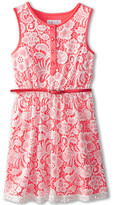 Us Angels Sleeveless Lace Dress w/ Belt F. Skirt (Big Kids)