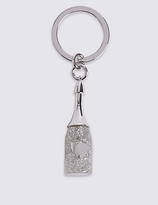 M&S Collection Glitter Prosecco Bottle Keyring