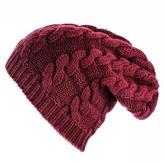 Black Burgundy Cable Knit Cashmere Slouch Beanie