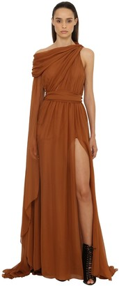 Dundas Draped Georgette Long Dress