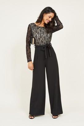 Yumi Black Lace Tie Jumpsuit