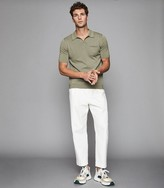 Reiss Giles - Open Collar Polo in Sage