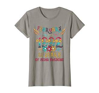 Womens FEBRUARY 1992 Floral Birthday 28 Years of Being Awesome T-Shirt