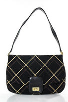 Designer Rafe New York Black Brown Beige Gold Tone Lock Closure Medium Shoulder Handbag