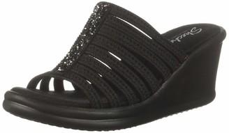 Skechers Women's Rumblers Galore-Rock Glitter Multi-Strap Slide Wedge Sandal