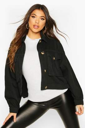 boohoo Mock Horn Button Boxy Oversized jean jacket