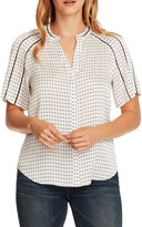 Vince Camuto Geo Print Short Sleeve Hammered Satin Top
