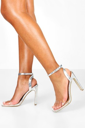 boohoo Wide Fit Clear Strap Square Toe Flat Heel 2 Parts