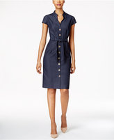Connected Belted Button-Front Denim Dress