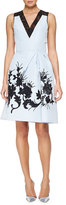 Carolina Herrera Floral-Embroidered Faille Cocktail Dress