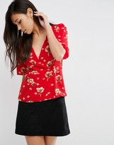Asos Wrap Tea Blouse in Red Floral Print