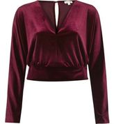 River Island Womens Burgundy velvet wrap crop top