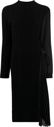 Sacai Pleat-Side Cable Knit Sweater Dress