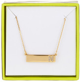 BaubleBar 14K Gold Plated Ice &N& Initial Bar Pendant Necklace