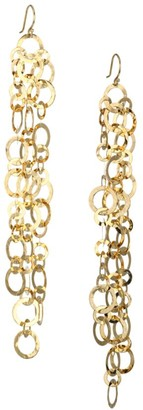Ippolita Classico Crinkled 18K Yellow Gold Long Open Circle Chain Earrings