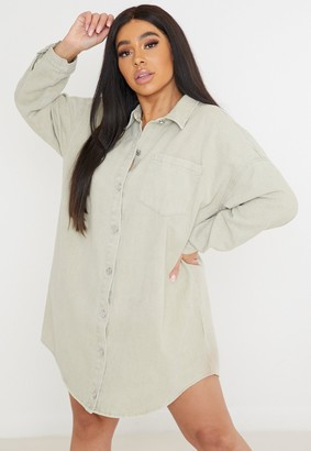 Missguided Plus Size Stone Oversized Denim Shirt Dress