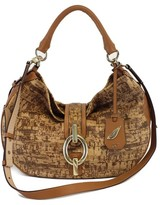 Diane von Furstenberg Sutra Tan Cork Print Leather Hobo Bag