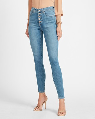 Express High Waisted Button Fly Skinny Jeans