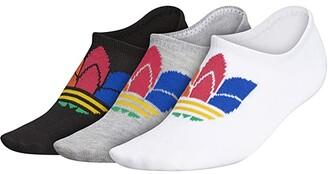 adidas Originals 3-D Trefoil Super No Show 3-Pack (White/Heather Grey/Black/Energy Orange/Power Pink) Women's Crew Cut Socks Shoes