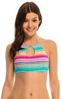 Hobie Salt Air Stripe Keyhole High Neck Crop Bikini Top 8140329
