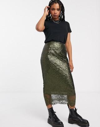 Asos DESIGN embellished slip midi skirt with lace hem