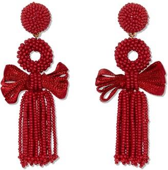 Sole Society Bow Beaded Tassel Drop Earrings