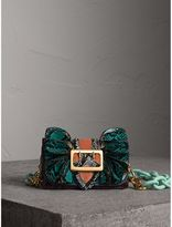 Burberry The Ruffle Buckle Bag in Snakeskin and Velvet, Blue