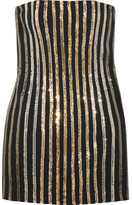 Balmain Metal Mesh-paneled Crepe Mini Dress - Gold