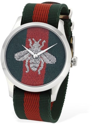 Gucci 38mm Web Motif W/ Bee Detail Watch