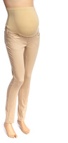 Taupe Twill Over-Belly Maternity Skinny Pants
