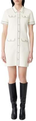 Maje Rosie Topstitched Knit Dress
