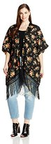 BB Dakota Women's Plus-Size Margarida Rose Veival Printed Fringe Kimono