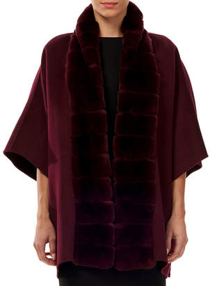 Gorski Wool/Cashmere Cape w/ Rex Rabbit Fur Trim