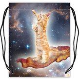 "Stylish Drawstring Bags Hipster Bacon Cat in Nebula Galaxy Space Universe Basketball Drawstring Bags Backpack, Sports Equipment Bag - 16.5""(W) x 19.3""(H), Twin-sided Print"