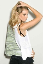 Blue Life Bare Belly Tank in White Army Tie Dye