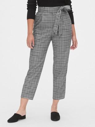 Gap High Rise Plaid Tie-Waist Pants