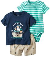 "Carter's Baby Boy Striped Bodysuit, ""Captain Adorable"" Tee & Nautical Shorts Set"