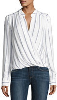 Splendid Rope Print Striped Surplice Top, Beige