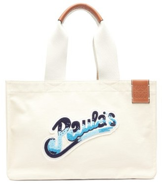 Loewe Paula's Ibiza - Beach Cabas Beaded-logo Canvas Tote Bag - Cream Multi