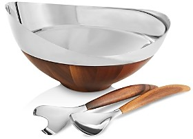 Nambe Pulse Salad Bowl with Servers