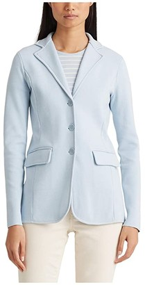 Lauren Ralph Lauren Tubular Trimmed Blazer (Soft Indigo) Women's Clothing