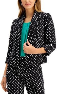 Kasper Petite Printed Shawl-Collar Open-Front Blazer