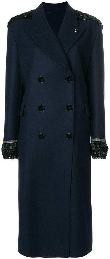 5963bb2c beaded double-breasted coat