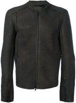Isabel Benenato zipped leather jacket - men - Leather/Polyamide/Spandex/Elastane/Yak - 52