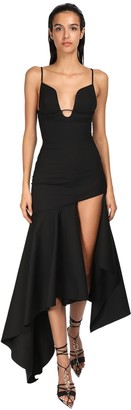 Thierry Mugler Stretch Gabardine Asymmetric Long Dress
