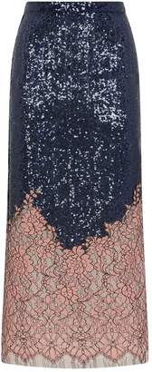 Costarellos Sequins and Lace Skirt