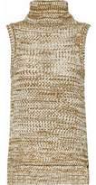 Derek Lam 10 Crosby Marled Open-Knit Cotton Turtleneck Sweater